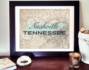 Nashville Map Print, Tennessee Print, TN Map Print, Nashville Tennessee Print, Nashville Map Art