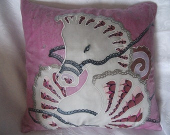 Pink Seahorse silk cushion cover 40cm sq. Romantic -  lacey metallic lines and gorgeous salt effect. Ideal for bedrooms and conservatories.