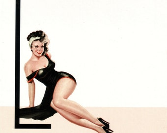 L is for Leather Pin-Up Girl Poster