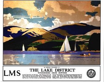 Vintage British Railways Lake Windermere Railway Poster Digital Print Various Sizes