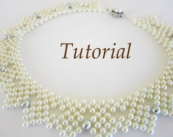 PDF for beaded pearls necklace pattern - easy beading