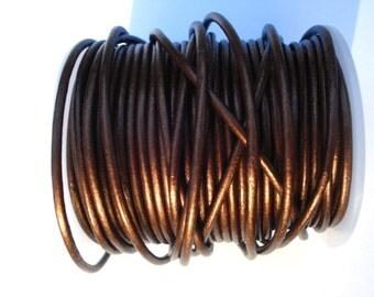 Dark Chocolate Brown Metallic Round Leather Cord 2mm Spool 25 yards Cording