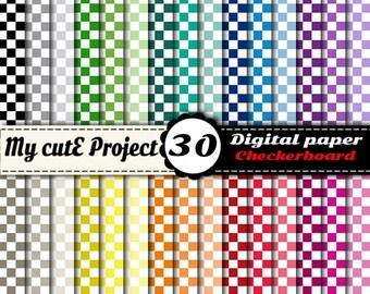 "Instant Download - DIGITAL PAPER - Checkerboard 1 - Scrapbooking - A4 & 12x12"""
