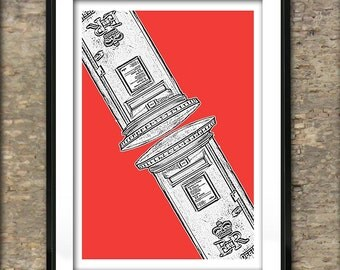 British Post Box Art Print Poster A4 Size Old Style Post Box England Version 2