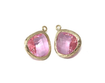 Pink Glass Pendant . Jewelry Craft Supplies . 16K Polished Gold Plated over Brass  / 2 Pcs - CG004-PG-PK