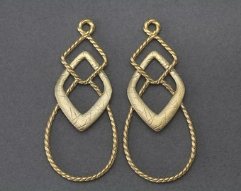 Vintage Oxidized Brass Drop Findings From Onepieceatatime
