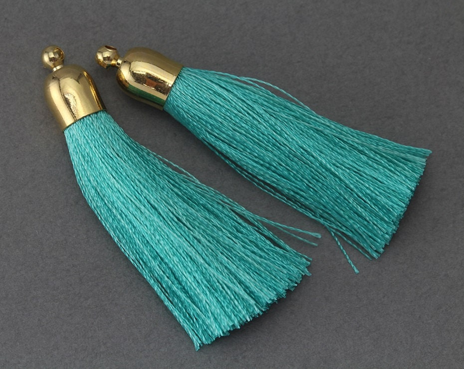 Mint cotton tassel jewelry craft supply 16k polished for Craft and jewelry supplies
