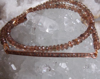 Rose Gold Plated and Diamond Bar Double-Wrap Bracelet with Andalusite