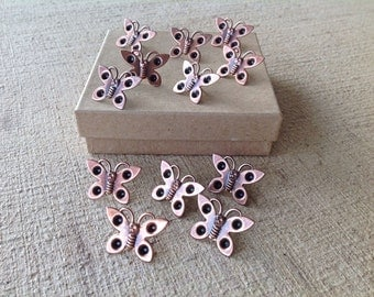 Decorative push pins - 12 pc - copper plated steel - butterfly shape