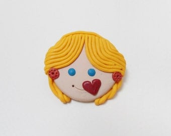 Polymer clay brooch, FIMO face, Valentine's Day heart