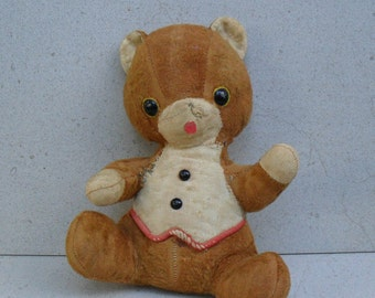 Distressed teddy bear 1950s -60s made by Qualitoys