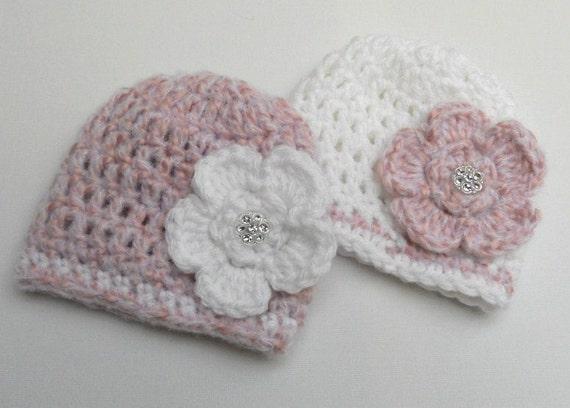 Crochet Hat Patterns For Twin Babies : Twin Girls Hat Set Crochet Baby Hats Twin by AdrisLittleCuties