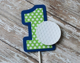 Golf Birthday Party Cake Topper, Green and Blue Cake Topper, Golf Smash Cake Topper, smash cake topper, smash cake props