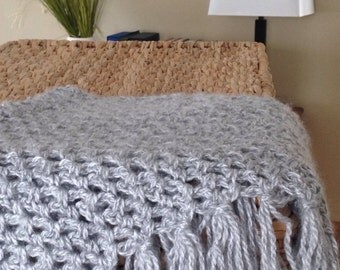 Crochet Triangle Scarf in Gray