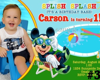 Mickey Mouse Invitation POOL PARTY with Photo You Print  Digital File Birthday Party Invite, Mickey  Pool Party