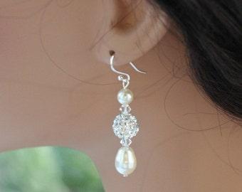 bridal pearl earrings ivory bridal jewelry crystal drop earrings silver bridal jewelry wedding earrings dangle crystal earrings