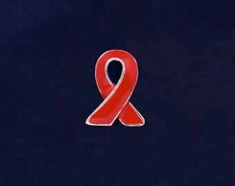 25 Red Ribbon Lapel Pins (25 Pins) (P-06-6)
