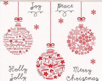Clipart christmas ball, christmas clipart, winter clipart, red christmas clipart, snowflakes clipart