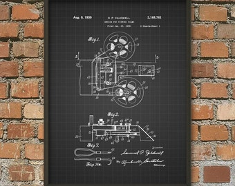 Film Projector Patent Wall Art Poster - Movie Theater Invention - Cinema Home Decor - Movie Wall Art Poster - Giclee Art print