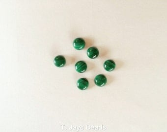 1 x 6mm Malachite Coin/Round Cabochon -