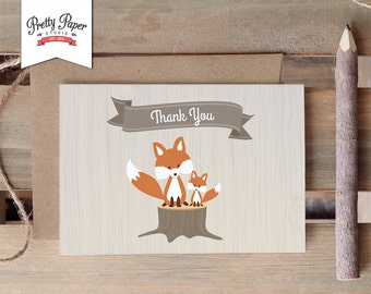 Woodland Thank You Card // INSTANT DOWNLOAD // Thank You Notes // Gender Neutral Fox // Baby Shower // Birthday Party // Printable BS03