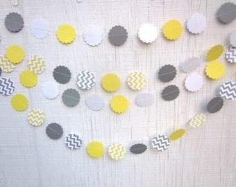 Chevron Circles Paper Garland ,  Birthday Garland, Wedding Garland, Baby Shower Garland, Photo Prop