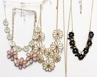 Floral bib necklace collection