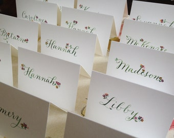Handpainted Floral Placecards for Weddings and Showers