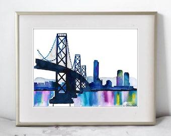 Watercolor Print of San Fransisco Bay Bridge, Scenic wall art and home decor. San Francisco wall art