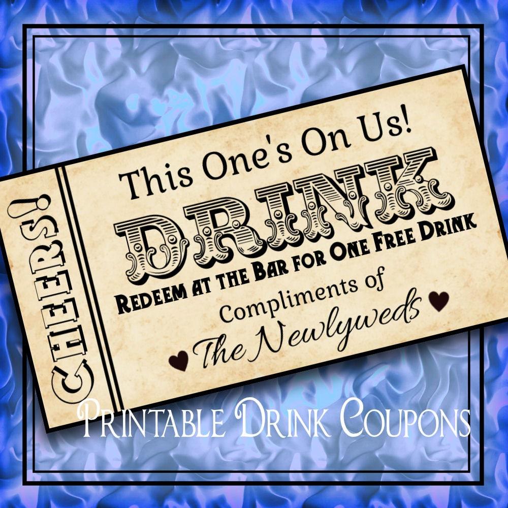 Printable Grunge Drink Tickets DIY Wedding Instant By IDoDiY