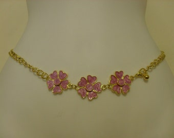 FREE SHIPPING-Simple metal chain belt with 3 big flowers on front