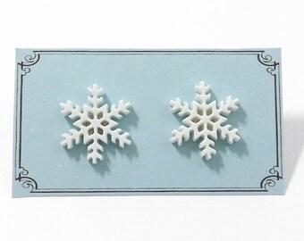Snowflake Earrings - Tiny Snowflake Earrings - Winter Stud Earrings - Christmas Post Earrings - Christmas Jewelry - Gifts Under 10 - Snow