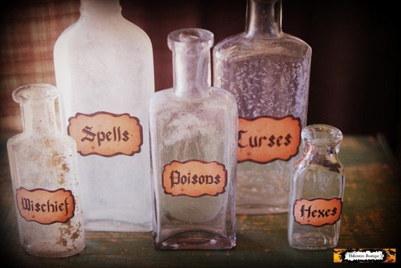 5 witch potion bottles halloween apothecary bottles spooky for Halloween medicine bottles