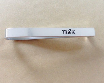 Hand Stamped Customized Aluminum Tie Clip - Personalized with Wedding Date - Fathers Day Gift