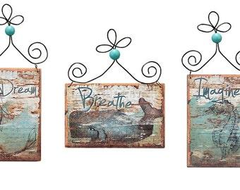 Ocean Beach Ornament Set /6 Wood Distressed Picture Sand Seahorse Whale Mermaid Aqua Blue