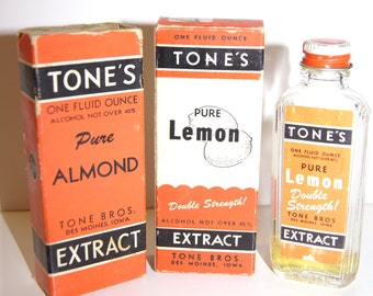 Vintage 1950s Tone Brother's Pure Lemon Extract Bottle with box and Pure Almond Extract Box