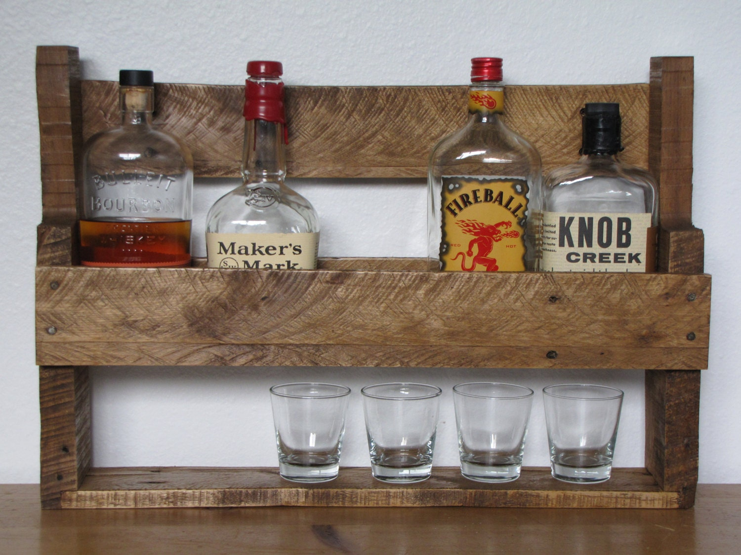 Reclaimed Rustic Wood Whisky Rack Made From Hardwood