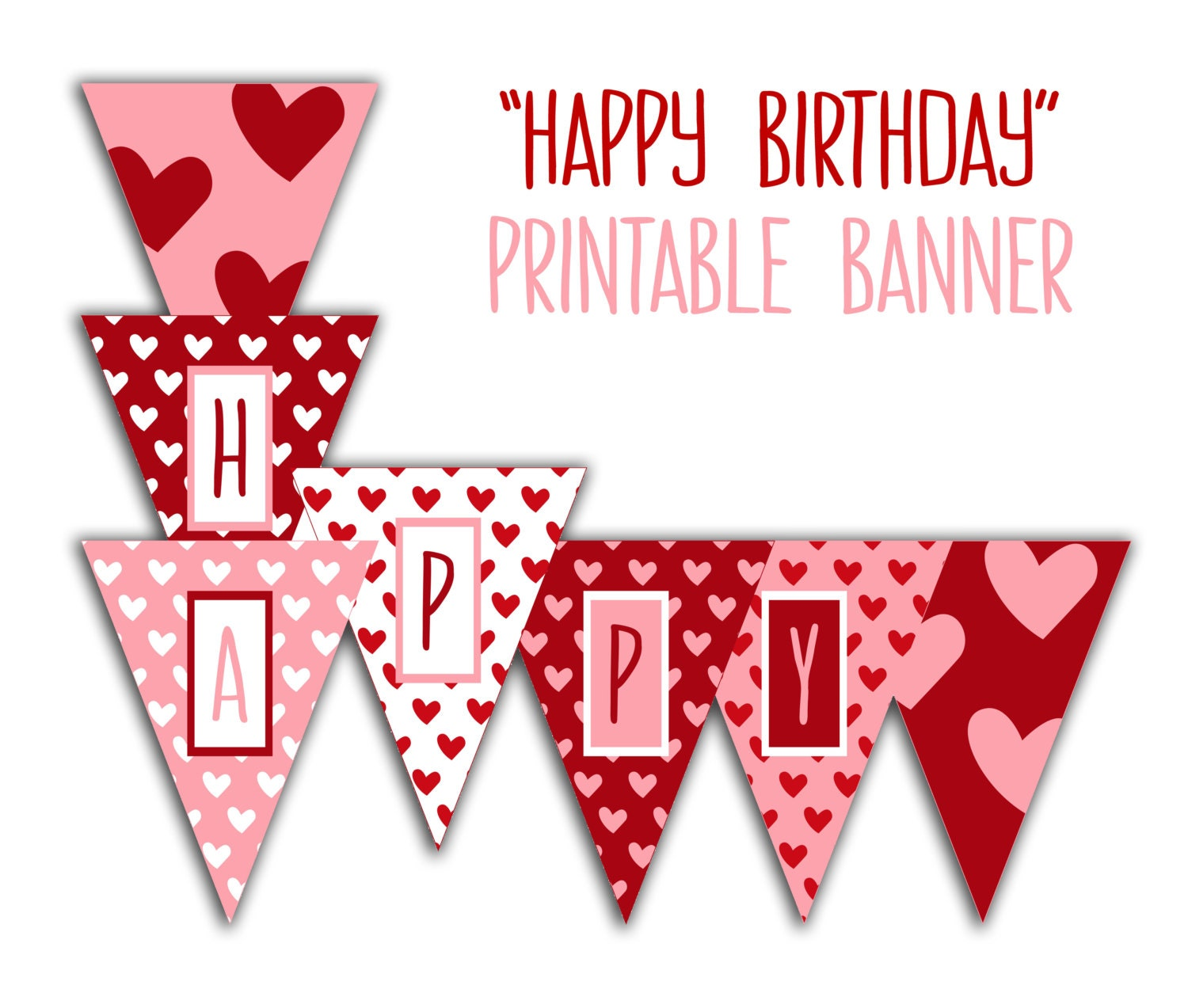 Happy Birthday Banner Birthday Party Printable Sign Red