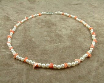 Necklace with White Pearls and Corals (Κολιέ με Λευκά Μαργαριτάρια και Κοράλια)