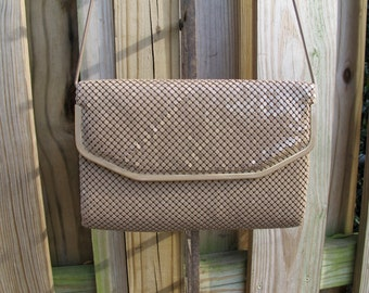 Vintage Taupe/Tan Metal Mesh Whiting & Davis style shoulder bag with metal chain strap