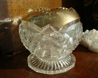 Antique EAPG Rose Bowl with Gold