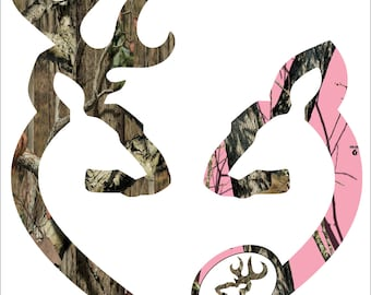 Browning style camo and pink camo pregnant heart shaped with baby buck decal sticker