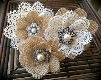 Rustic Burlap And Lace Cake Flowers With Vintage Inspired Brooches & Jewels - Set of 3, Burlap Lace Cake Topper