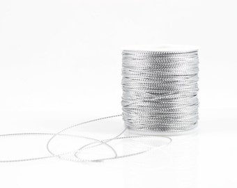1mm SILVER METALLIC STRING - Silver Metallic String Cord (1mm diameter) sold by 5m length