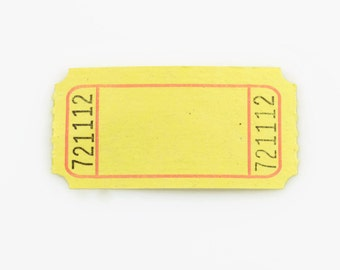 CARNIVAL TICKET STUBS (Set of 100) - Yellow Numbered Carnival Ticket Stubs (5cm x 2.6cm)