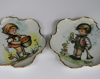 Vintage Enesco Little Boy & Girl Collector Decorator Plates, Nursery Decor, Childs Room Decor, Vintage Wall Hanging