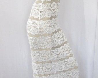 White Lace Dress BodyCon Strapless Tube Dress, Wiggle Dress M Stretch Lycra Festival