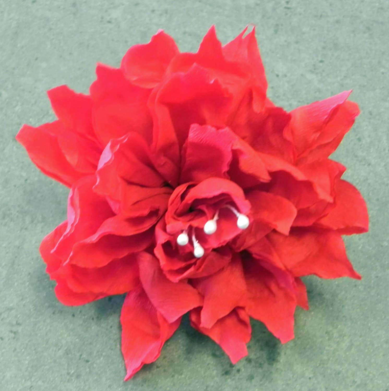 Mexican Crepe Paper Flower Hair Clip Red 4 Diam Cinco De
