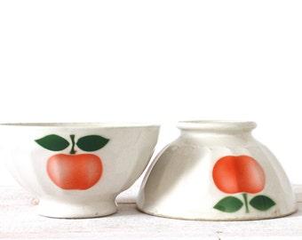 2 vintage french bowls Café au Lait red apple pattern - shabby chic. St Clement.