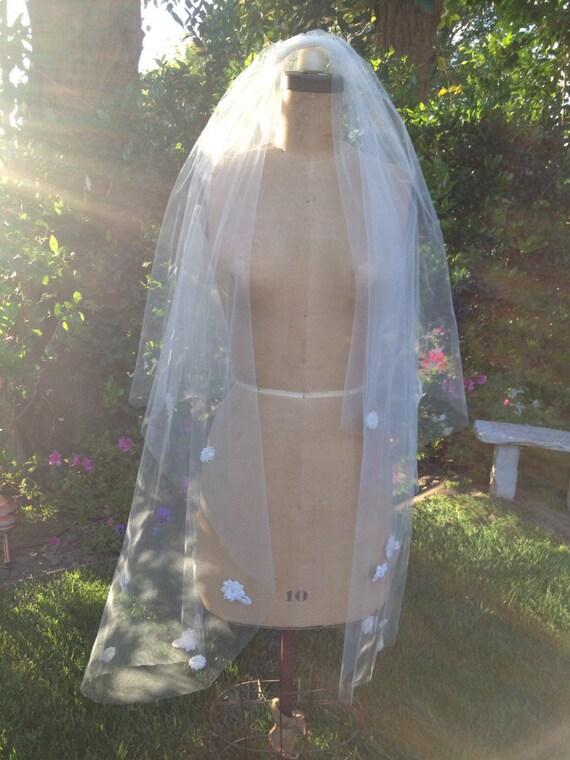 Wedding Veil, Beaded Flower Veil, Lace Veil, Beaded Veil, Drop Veil, Fingertip Veil , Boho Veil,  CAMILLE VEIL